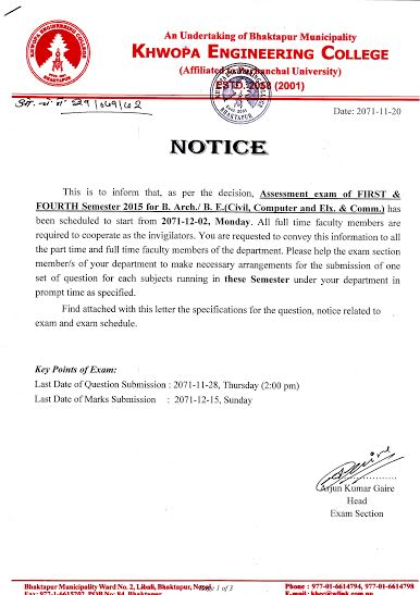 Assessment Notice for I & IV SEM