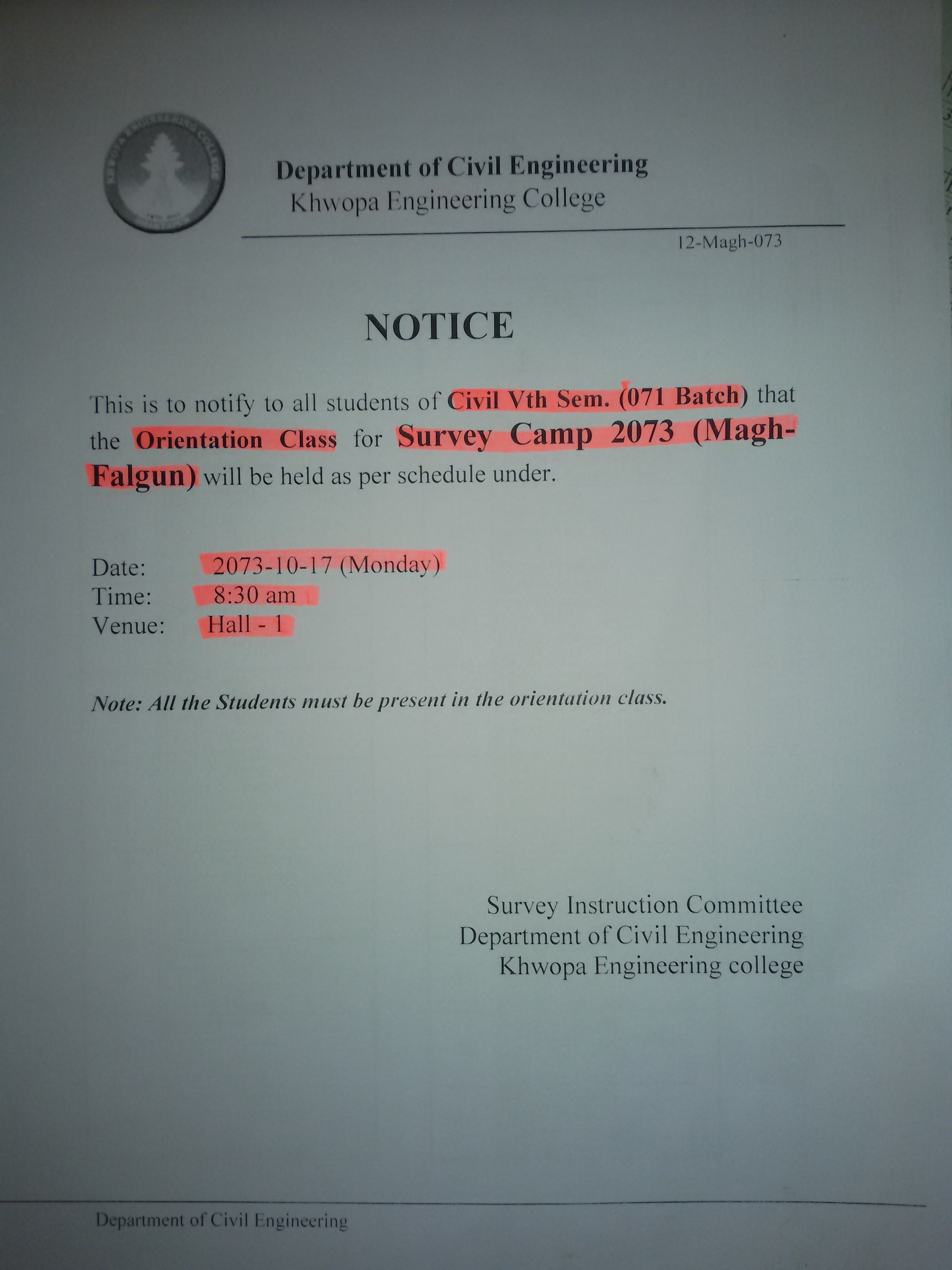 NOTICE TO CIVIL FIFTH SEMESTER STUDENTS  ABOUT SURVEY CAMP ORIENTATION