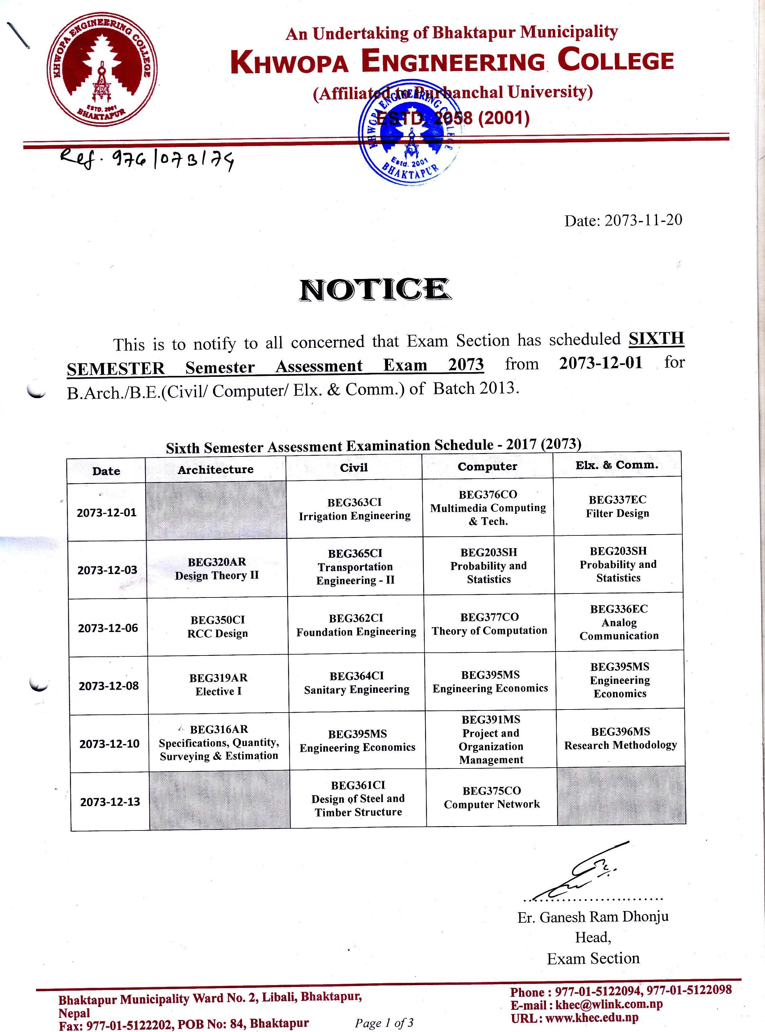 Sixth Semester Assessment Exam Notice